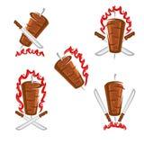 Ярлыки Kebab и набор элементов Kebabs значка собрания r иллюстрация вектора