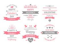 Ярлык дня валентинок Винтажное знамя карты Валентайн, рамка любов и ретро иллюстрация вектора поздравительных открыток желаний лю иллюстрация штока