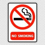 ярлык знака символа для некурящих на прозрачной предпосылке иллюстрация вектора