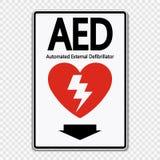 Ярлык знака AED символа на прозрачной предпосылке иллюстрация вектора