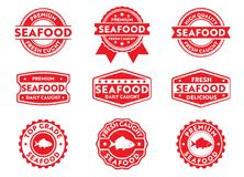 Ярлык значка штемпеля вектора для выходя на рынок продавая ежедневно улавливаемого продукта морепродуктов, свежий, очень вкусный, иллюстрация штока