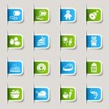 Ярлык - иконы еды Стоковая Фотография