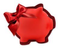 Ярлык карточки подарка в форме красной копилки с красным glitte Стоковые Фотографии RF