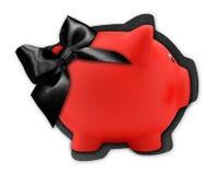Ярлык карточки подарка в форме красной копилки с черным glit Стоковые Фотографии RF