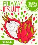 Ярлык нарисованный вектором для плодоовощ pitaya Для обрабатывать землю, пакующ, здоровый продукт, vegan Стоковое фото RF