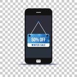 Ярлык продажи зимы на применении мобильного телефона наклеенном на бумаге фото стоковое фото rf