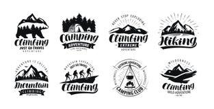 Ярлык располагающся лагерем, взбираться логотип или Пешее отключение, комплект похода значков Вектор литерности иллюстрация вектора