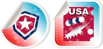 ярлык сделал установленными стикерами США Стоковое Изображение RF