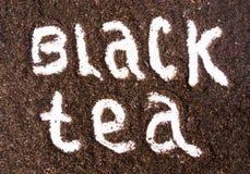Ярлык черного чая отпечатанный в зерна Стоковые Фотографии RF
