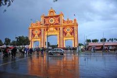 Ярмарка в Севилье под штормом, Андалусии, Испании стоковые фото