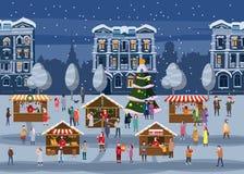 Ярмарка рождества, рынок на наборе городка человекоподобном животных в человеческих пальто одежд зимы, куртках, ботинках, тапочка иллюстрация штока