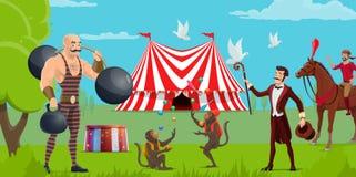 Ярмарка, шоу цирка и шатер, совершители иллюстрация вектора