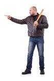 Яростный человек с бейсбольной битой Стоковые Изображения RF