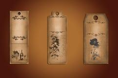 Ярлыки года сбора винограда от старой коричневой бумаги Стоковое фото RF