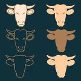 Ярлыки головы коровы мясника Стоковое Изображение
