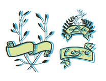 Ярлыки ленты татуировки Grunge Стоковые Изображения RF