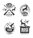 Ярлыки звероловства вектора ретро винтажные, эмблемы, логотипы, значки бесплатная иллюстрация