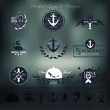 Ярлыки, значки и элементы морепродуктов для вашего Иллюстрация вектора