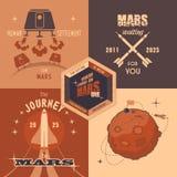 Ярлыки дизайна программы колонизации Марса плоские Стоковые Фото