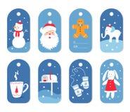 Ярлыки или бирки рождества и подарка зимних отдыхов с Mittens, Сантой и обременительным имуществом Стоковое Изображение