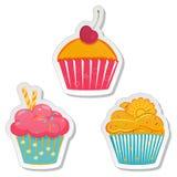 Ярлыки или стикеры еды установили пирожные иллюстрация вектора