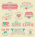 Ярлыки и эмблемы дня валентинки Стоковое фото RF