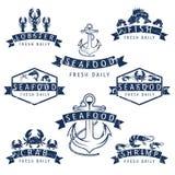 ярлыки морепродуктов в ретро стиле вектор Стоковые Фотографии RF