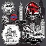 Ярлыки награды вектора установленные от привлекательностей Лондона иллюстрация штока