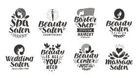 Ярлыки, логотипы и значки салона красоты вектора установленные Курорт литерности, парикмахерская, свадьба, массаж иллюстрация штока
