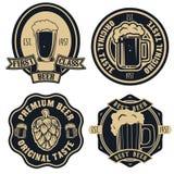 Ярлыки пива Элементы дизайна винтажного пива ремесла ретро, эмблемы, Стоковое Изображение RF