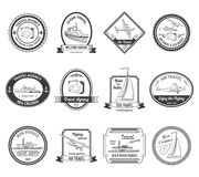 Ярлыки путешествий бюро путешествий круиза иллюстрация штока