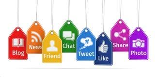 Ярлыки с социальными значками средств массовой информации Концепция Стоковое Изображение