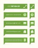 Ярлыки зеленого цвета с текстом и символами Стоковое Изображение RF
