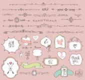 Ярлыки Doodle, значки, рамка, граница, элемент оформления бесплатная иллюстрация