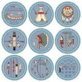 9 ярлыков коренного американца Стоковые Изображения RF