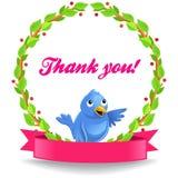 Ярлык вектора спасибо с смешной птицей Стоковое Изображение