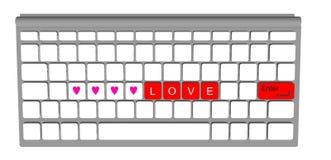 Ярлык влюбленности на современном компьютере клавиатуры Стоковые Изображения