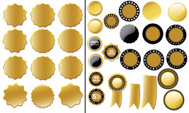 Ярлык задней части денег, комплект ярлыка ПРОДАЖИ (золото) Стоковое фото RF
