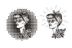 Ярлык, значок, печать силуэта девушки в ретро стиле Иллюстрация вектора