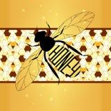Ярлык иллюстрации на меде пчела с сотами Стоковое Изображение
