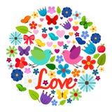 Ярлык карточки влюбленности весны круглый бесплатная иллюстрация