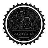 Ярлык карты Парагвая при ретро введенный в моду год сбора винограда Стоковое фото RF