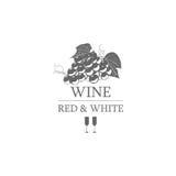 Ярлык красного цвета и белизны вина также вектор иллюстрации притяжки corel Стоковая Фотография