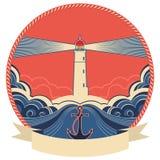 Ярлык маяка с рамкой анкера и веревочки иллюстрация штока