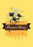 Ярлык меда вектора нарисованный рукой с пуком гребня и цветка Большое знамя, плакат, рогулька для дела повышает Стоковые Изображения RF
