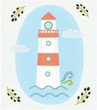 Ярлык нарисованный рукой винтажный с маяком и литерностью Для дизайна моды футболки одеяния и или другого пользы Стоковые Фото