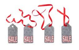 Ярлык от войлока серого цвета Комплект бирок подарка цвета изолированных на белой предпосылке Стоковая Фотография