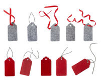 Ярлык от красного и серого войлока Комплект бирок подарка цвета изолированных на белой предпосылке Стоковое Фото