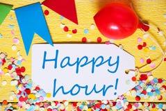 Ярлык партии, красный воздушный шар, отправляет СМС счастливый час Стоковые Фото