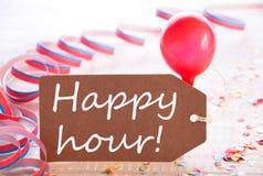 Ярлык партии с лентой, воздушным шаром, отправляет СМС счастливый час Стоковые Изображения